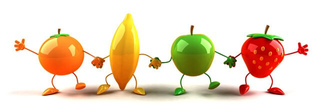 3-D fruit characters hold hands