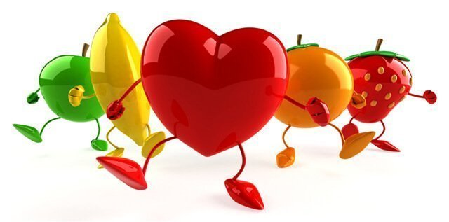 Heart with fruity cuties stepping forward