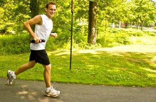 Andrew Perlot runs outside