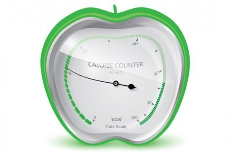 Illustration of a calorie counter encased in a green apple