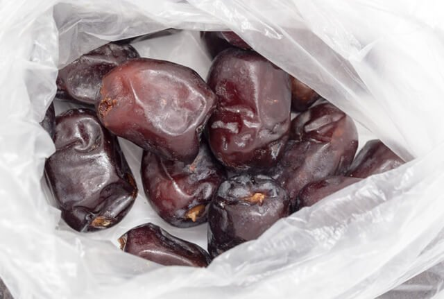 Dates stored in a clear bag