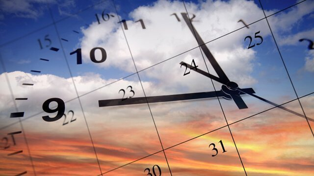 Illustration of a clock face and calendar on a background of sky