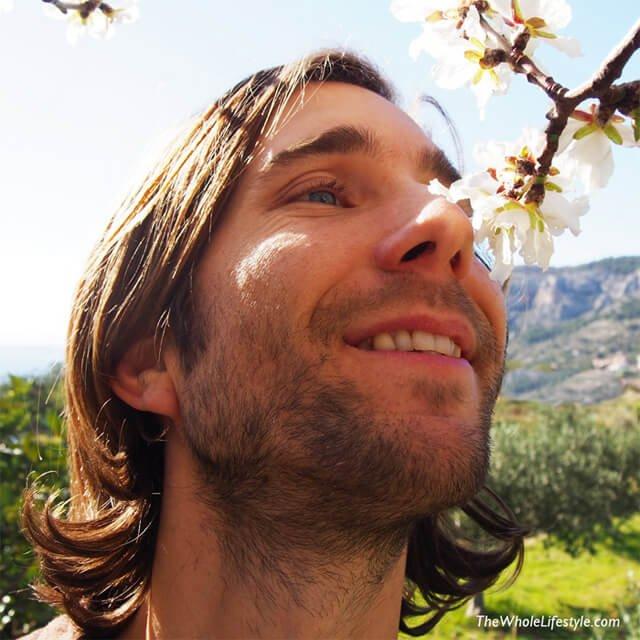 Jesse Bogdanovich smelling flowers
