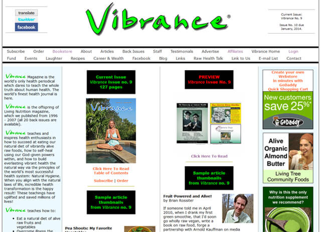 A screenshot of the Vibrance magazine website in February 2014