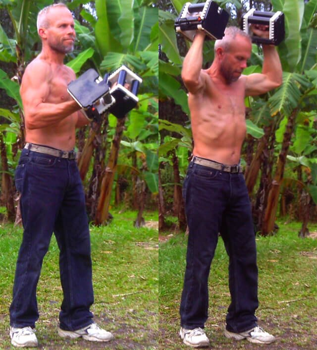 Charlie Abel demonstrating proper standing position for lifting weights