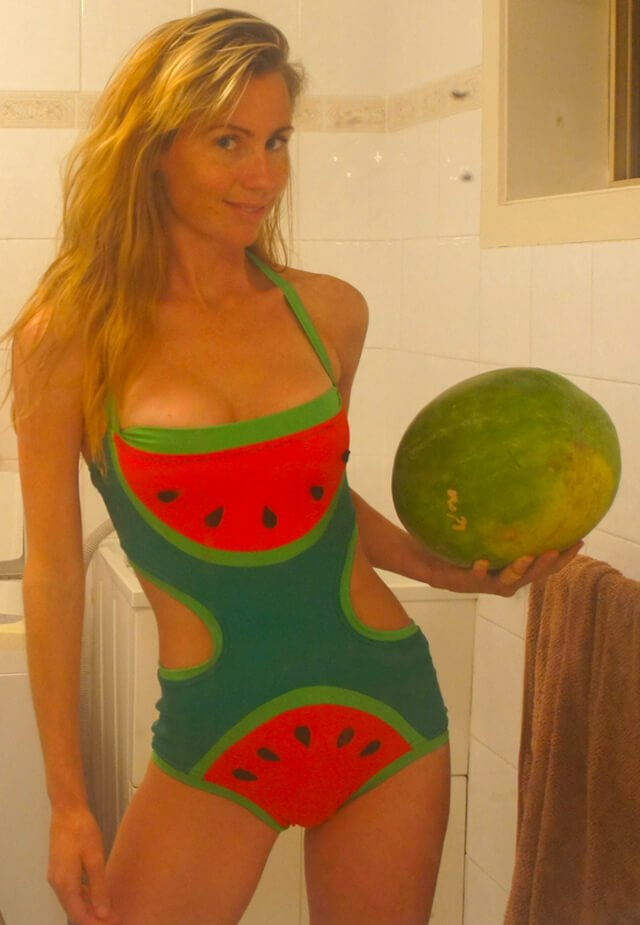 Freelee holding a watermelon