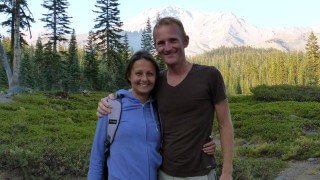 Paul and Yulia Tarbath pose at Mount Shasta in California