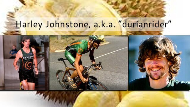 "Harley Johnstone, a.k.a. ""Durianrider,"" photographed running and cycling"