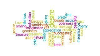A word cloud featuring positively charged words
