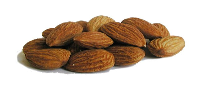 Almonds against white background