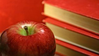 Red apple beside red books against red background