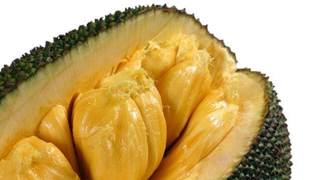 Jackfruit cut open on a white background