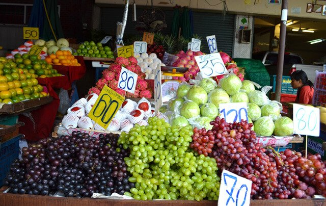 Grapes and other fruits at Muang Mai Market in Chiang Mai, Thailand