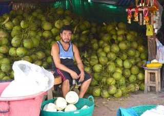 A coconut market at Muang Mai Market in Chiang Mai, Thailand