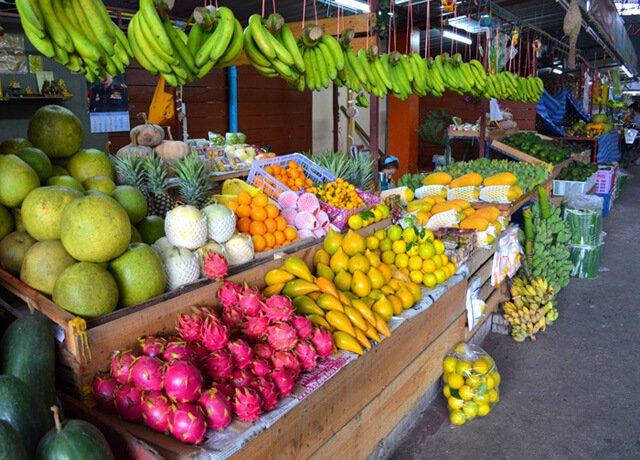 Mixed fruits at a Muang Mai Market stall in Chiang Mai, Thailand