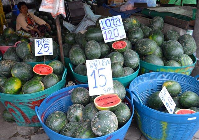 A watermelon market at Muang Mai Market in Chiang Mai, Thailand