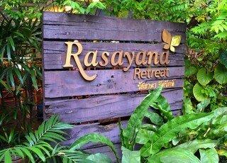 Front sign at Rasayana Raw Café in Bangkok, Thailand