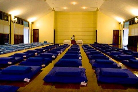Photographed is the large meditation hall at the Vipassana retreat in Kanchanaburi, Thailand