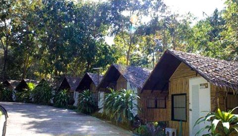 Men's bungalows at the Vipassana meditation retreat in Kanchanaburi, Thailand