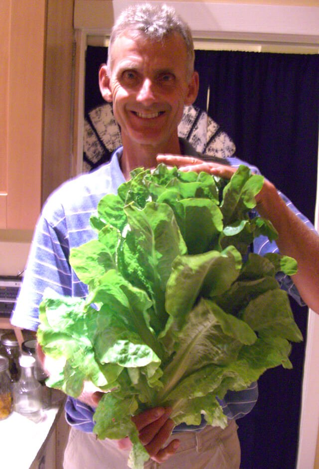 Don Weaver holds large homegrown lettuce leaves in his kitchen
