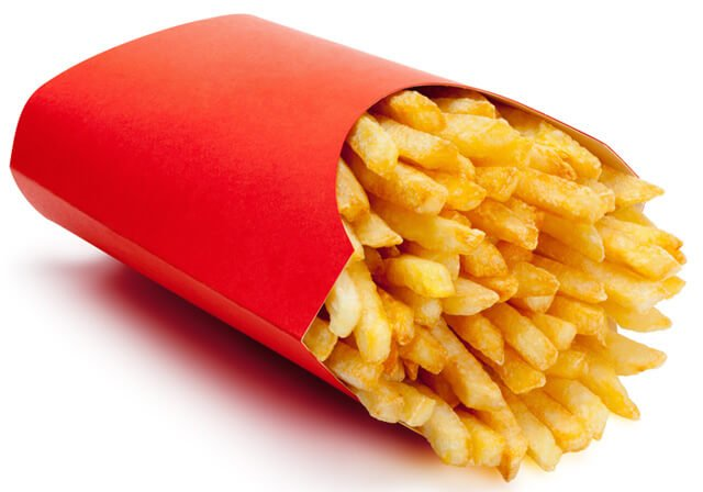 Fast-food french fries in a red carton