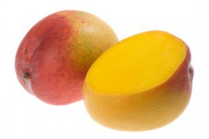 Two mangoes with white background