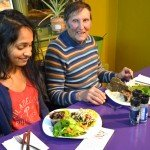 Silpa Reddy and Arnold Kauffman at Raw Can Roll Café