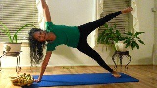 Silpa Reddy holds a pilates pose