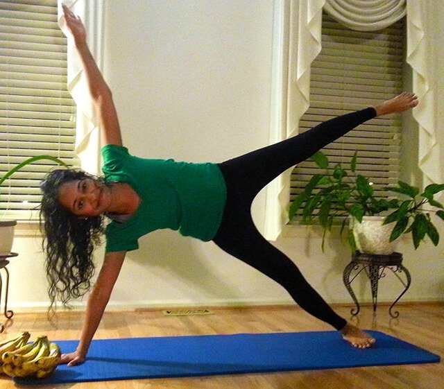Silpa Reddy holds a pilates pose