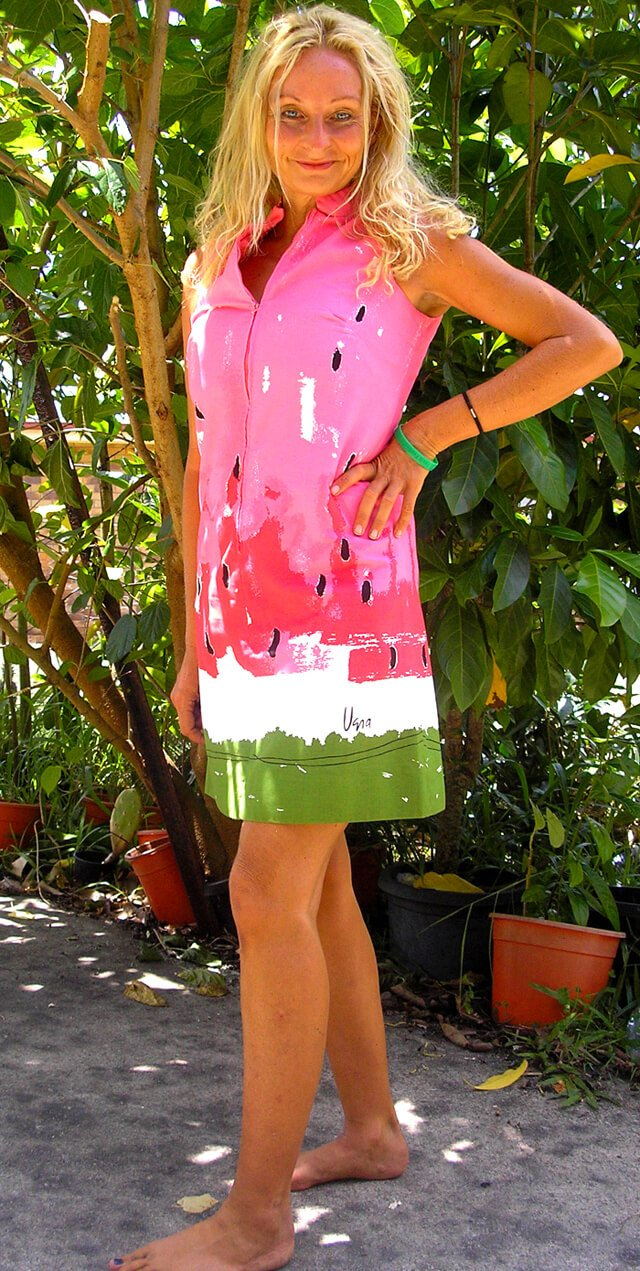 Anne Osborne in a watermelon-print dress