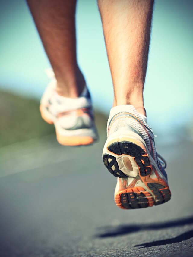 Sneakers on a man running