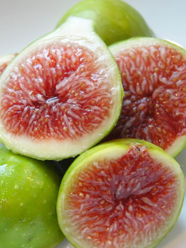 Several figs against gray background