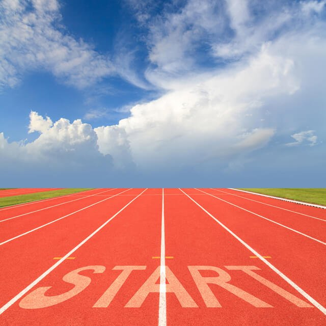 "Running track with ""start"" sign"