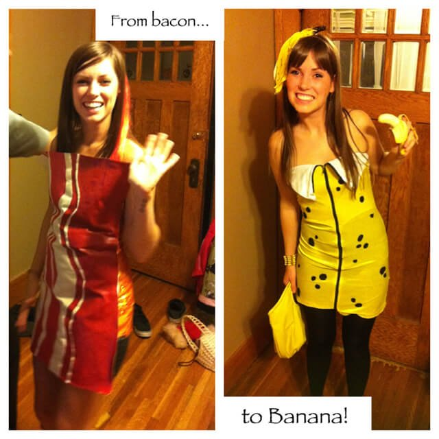 Ashley Clark wearing bacon and banana Halloween costumes