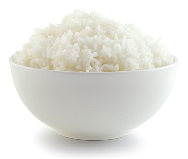 A bowl of white rice againast a white background
