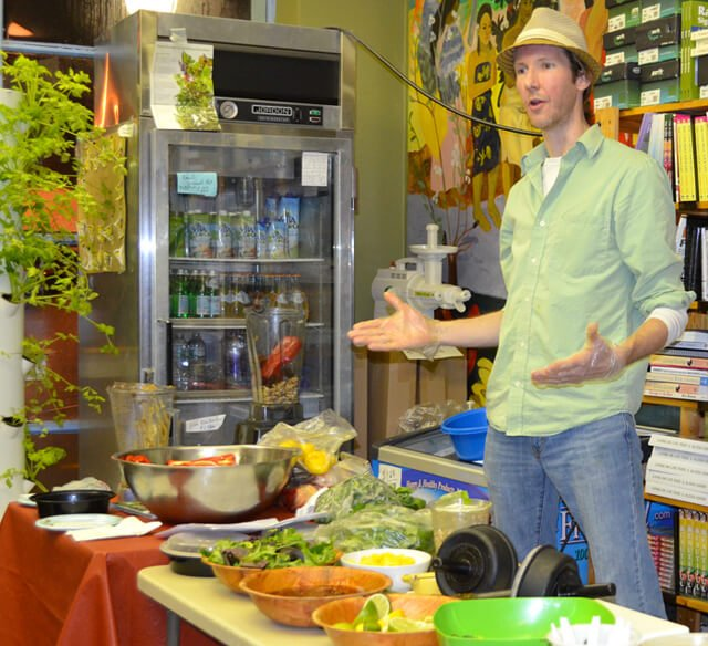 Brian Rossiter speaks at a recipe class at Arnold's Way on February 27, 2013