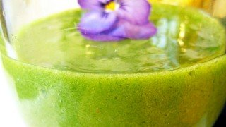 Recipe for Green Banana Smoothie with Fresh Basil and Thyme by Louise Koch