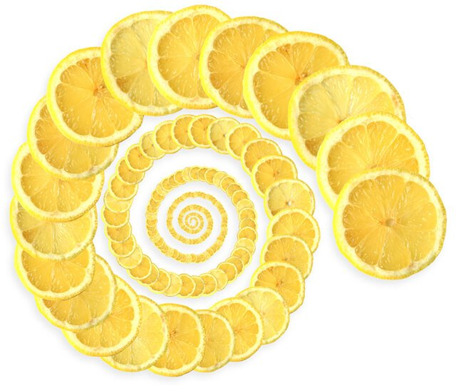 A spiral of lemons against a white background
