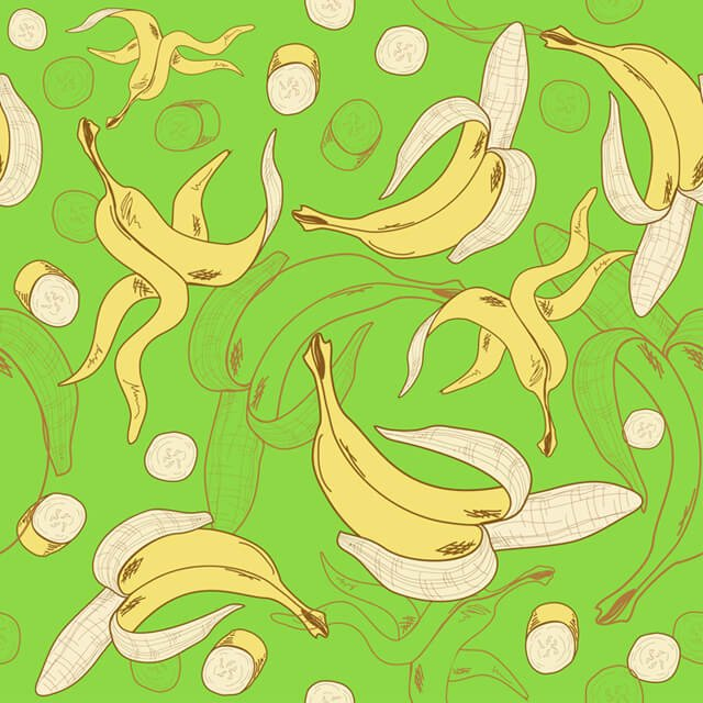 Illustration of bananas and peels