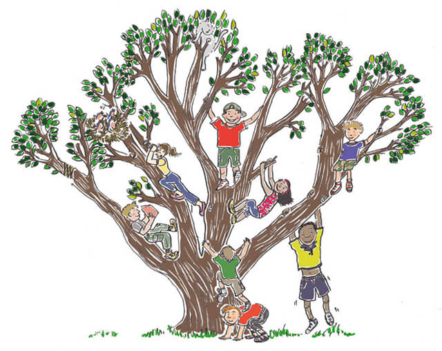 A drawing of kids climbing a tree