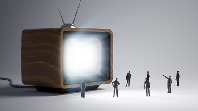 Miniature model men under the spell of television - Undoing Propaganda Takes Some Doing