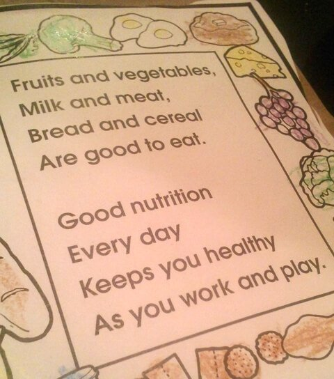 Fruits and vegetables poem by The Educations Center