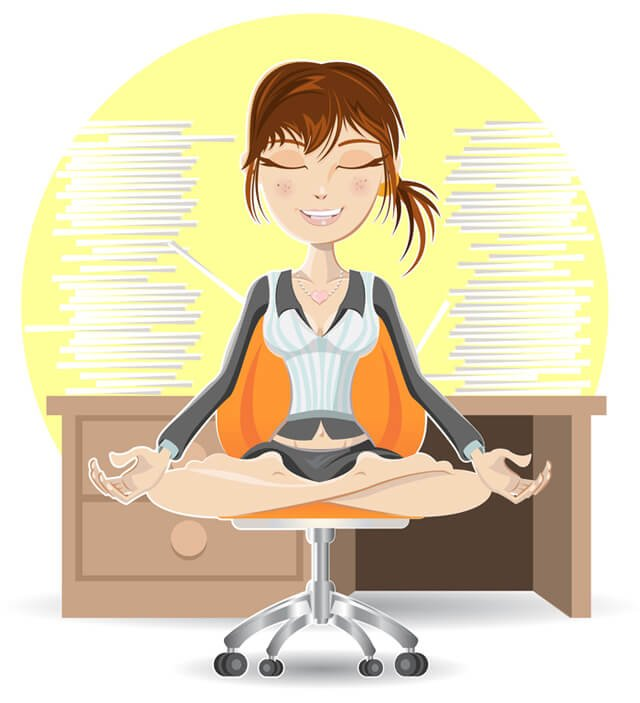 Illustration of a woman meditating at an office