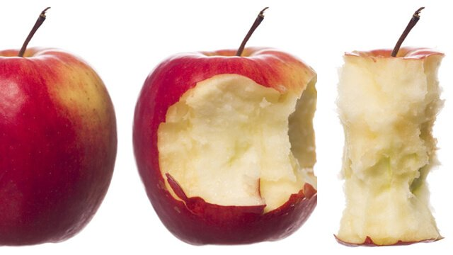 Stages of an apple being eaten