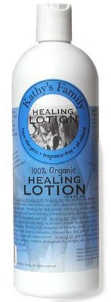 Front label of Kathy's Family Healing Lotion