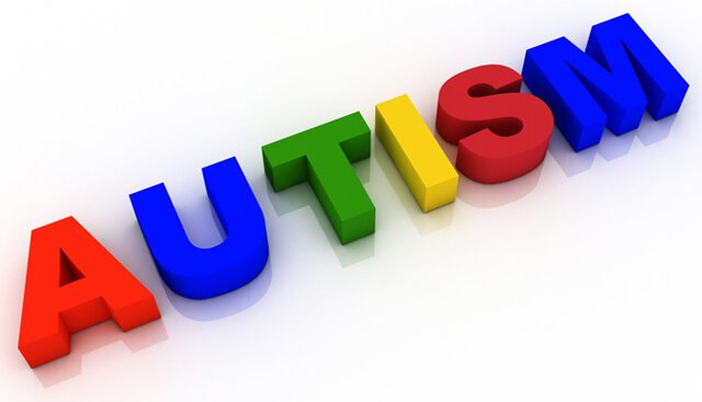"The word ""autism"" is displayed in colored block letters"