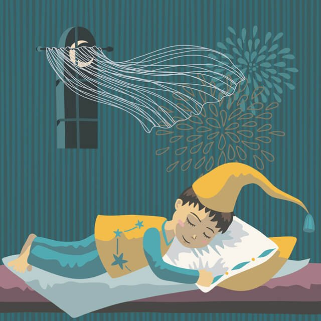 Sleeping boy in long nightcap with a window open