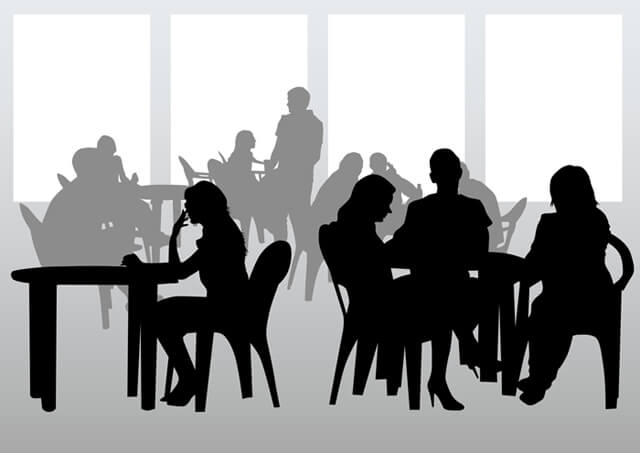 Illustration of a silhouette of restaurant diners