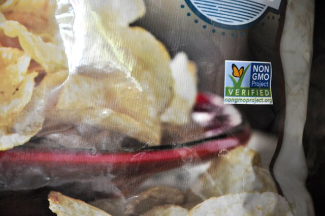 Non-GMO label on a bag of potato chips