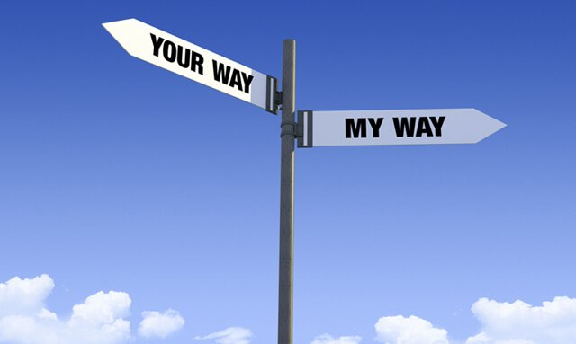 "Street sign saying ""Your Way"" and ""My Way"""
